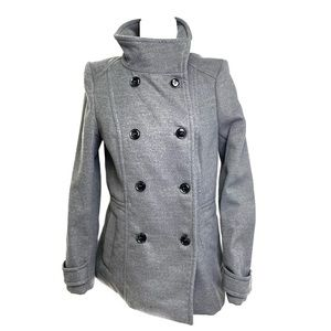 NWOT H&M Pea Coat Winter Jacket Gray Button Up